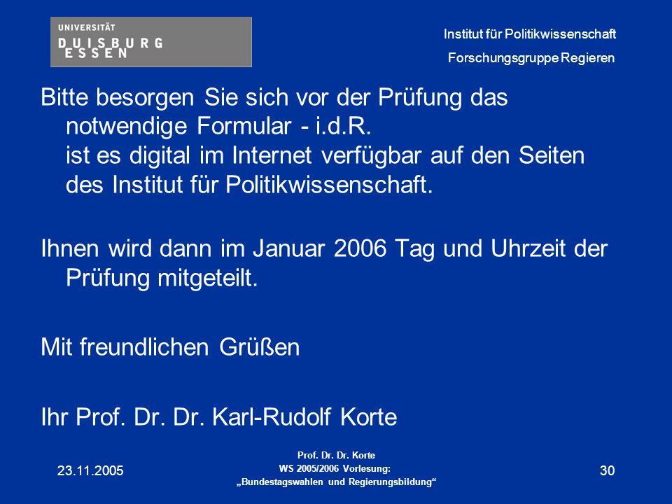 Ihnen wird dann im Januar 2006 Tag und Uhrzeit der Prüfung mitgeteilt.