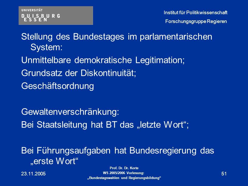 """Stellung des Bundestages im parlamentarischen System: Unmittelbare demokratische Legitimation; Grundsatz der Diskontinuität; Geschäftsordnung Gewaltenverschränkung: Bei Staatsleitung hat BT das """"letzte Wort ; Bei Führungsaufgaben hat Bundesregierung das """"erste Wort"""