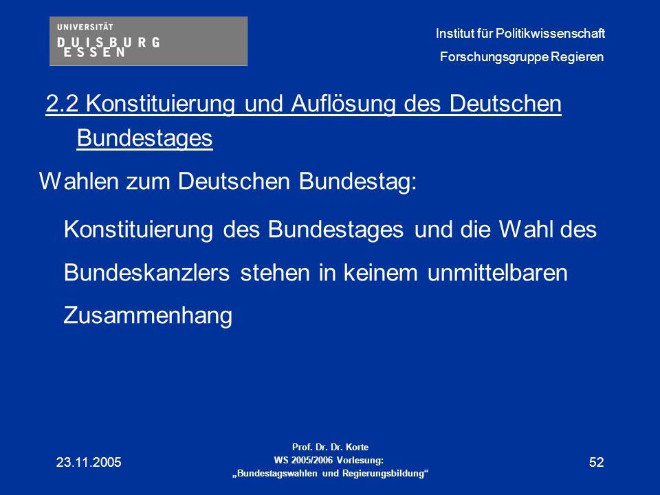 2.2 Konstituierung und Auflösung des Deutschen Bundestages