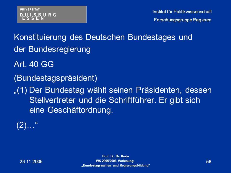 Konstituierung des Deutschen Bundestages und der Bundesregierung