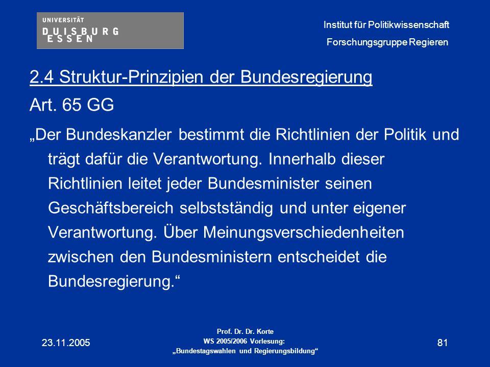 2.4 Struktur-Prinzipien der Bundesregierung Art. 65 GG