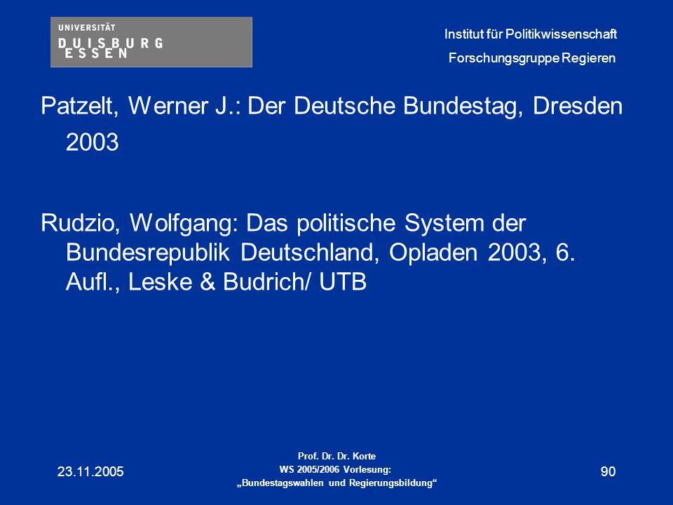 Patzelt, Werner J.: Der Deutsche Bundestag, Dresden 2003
