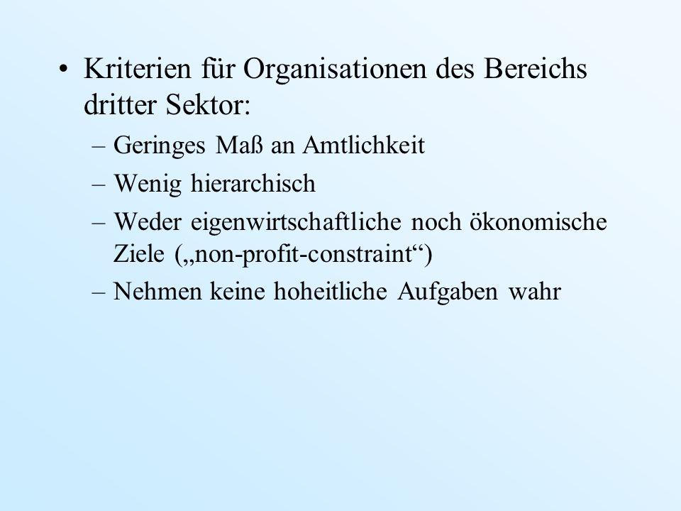 Kriterien für Organisationen des Bereichs dritter Sektor: