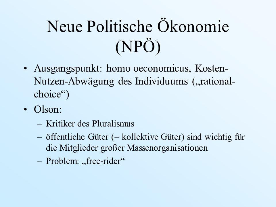 Neue Politische Ökonomie (NPÖ)