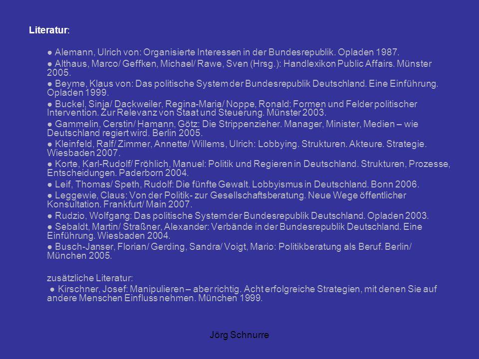 Literatur: ● Alemann, Ulrich von: Organisierte Interessen in der Bundesrepublik. Opladen 1987.