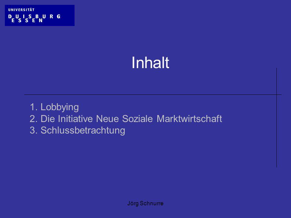 Inhalt 1. Lobbying 2. Die Initiative Neue Soziale Marktwirtschaft