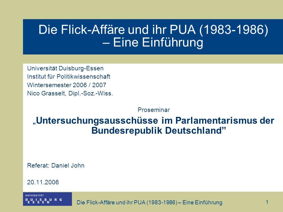 Die Flick-Affäre und ihr PUA (1983-1986) – Eine Einführung