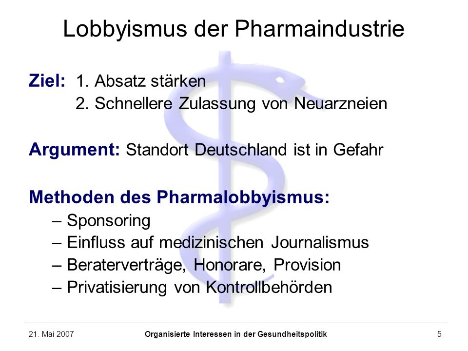 Lobbyismus der Pharmaindustrie