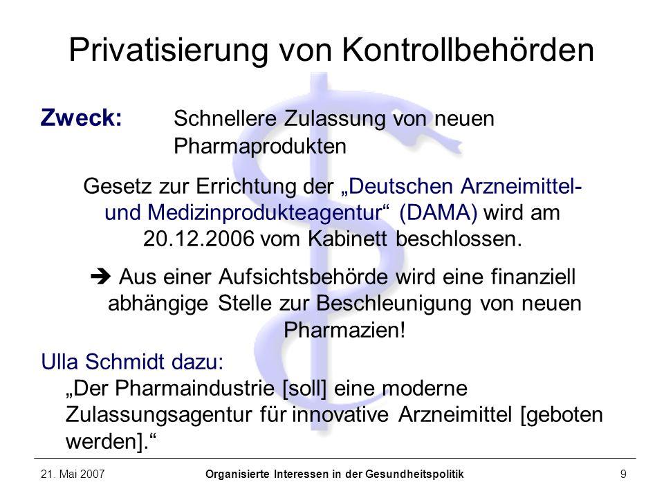 Privatisierung von Kontrollbehörden