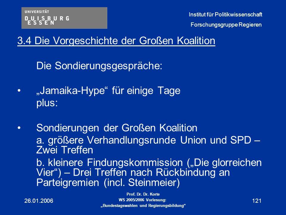3.4 Die Vorgeschichte der Großen Koalition Die Sondierungsgespräche: