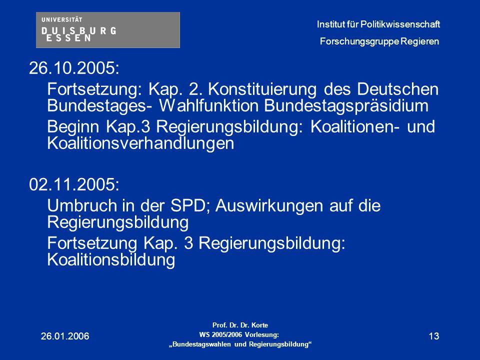 Umbruch in der SPD; Auswirkungen auf die Regierungsbildung