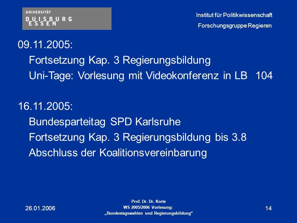 Fortsetzung Kap. 3 Regierungsbildung