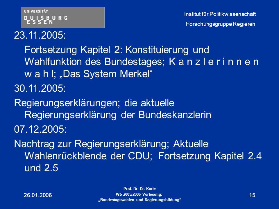 """23.11.2005: Fortsetzung Kapitel 2: Konstituierung und Wahlfunktion des Bundestages; K a n z l e r i n n e n w a h l; """"Das System Merkel"""
