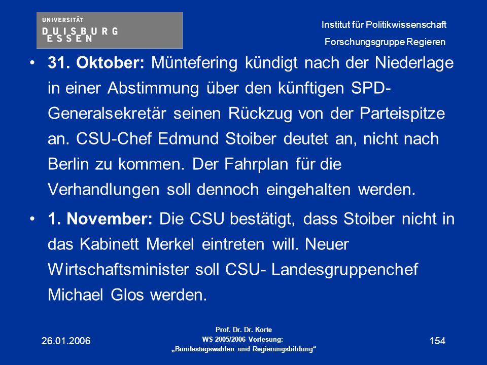 31. Oktober: Müntefering kündigt nach der Niederlage in einer Abstimmung über den künftigen SPD-Generalsekretär seinen Rückzug von der Parteispitze an. CSU-Chef Edmund Stoiber deutet an, nicht nach Berlin zu kommen. Der Fahrplan für die Verhandlungen soll dennoch eingehalten werden.