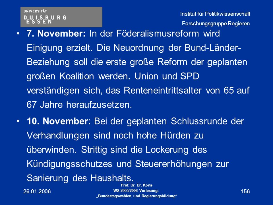 7. November: In der Föderalismusreform wird Einigung erzielt