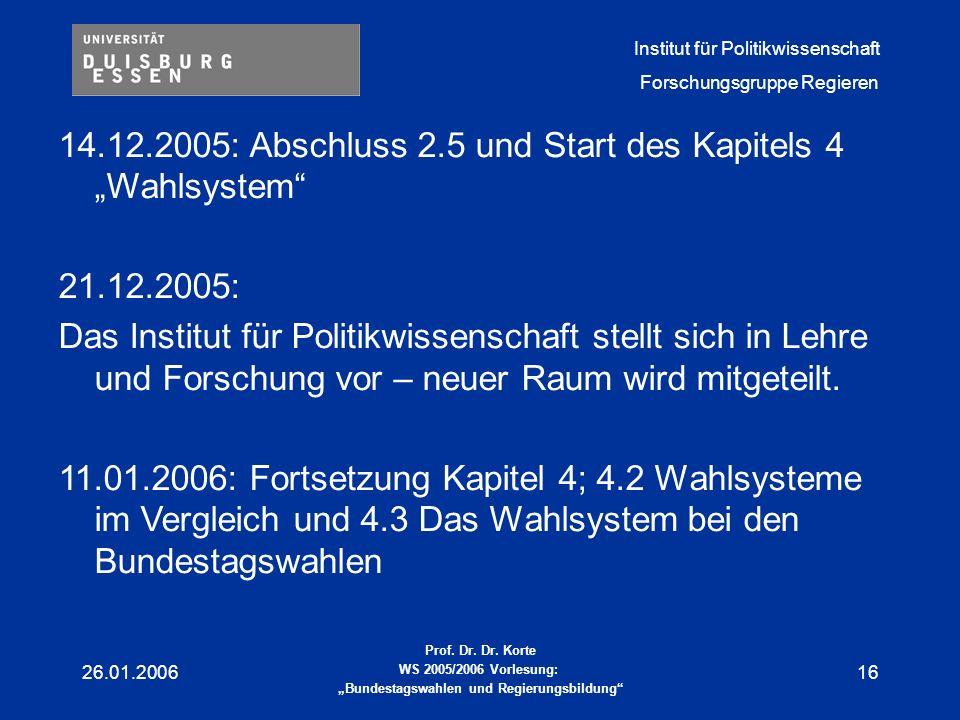 """14.12.2005: Abschluss 2.5 und Start des Kapitels 4 """"Wahlsystem"""