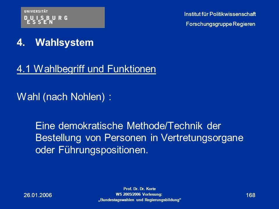 4.1 Wahlbegriff und Funktionen Wahl (nach Nohlen) :