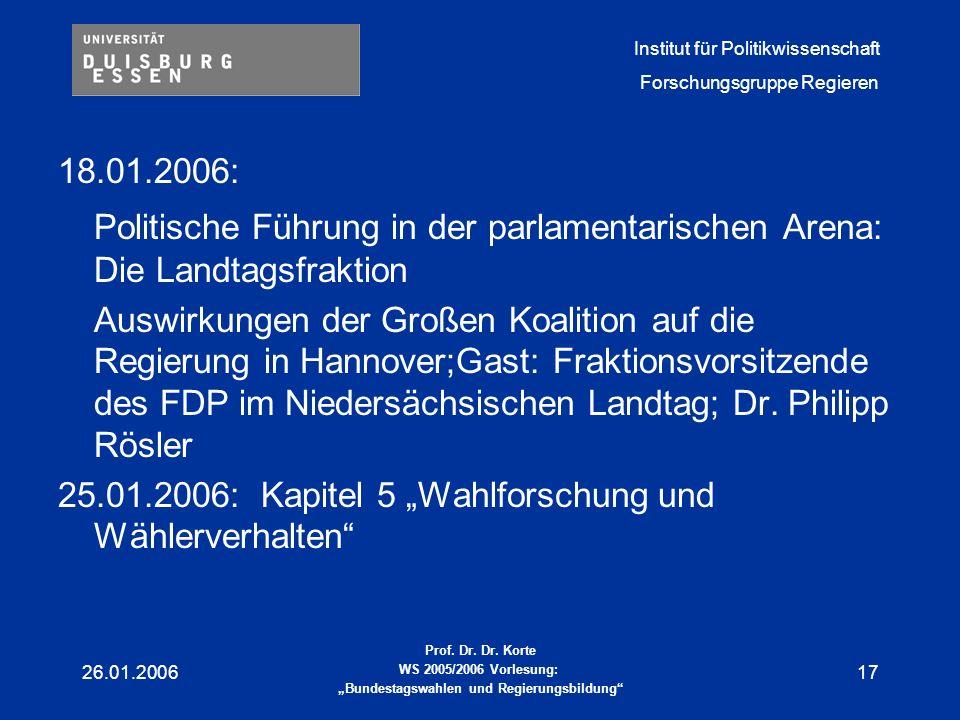 18.01.2006: Politische Führung in der parlamentarischen Arena: Die Landtagsfraktion.