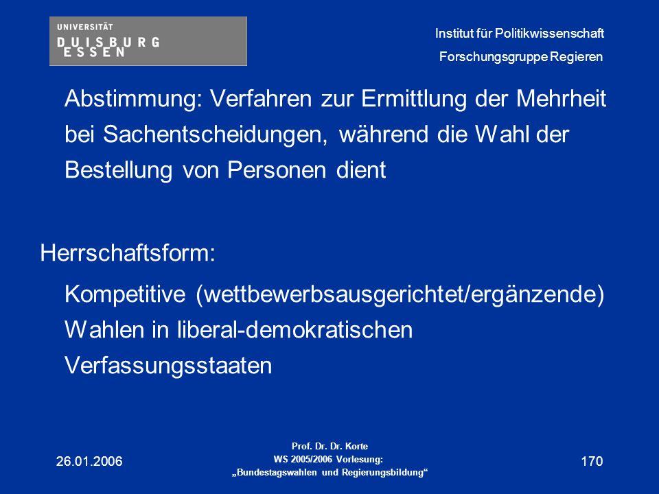 Abstimmung: Verfahren zur Ermittlung der Mehrheit bei Sachentscheidungen, während die Wahl der Bestellung von Personen dient