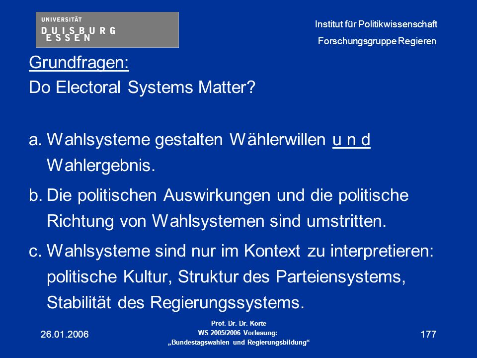 Do Electoral Systems Matter
