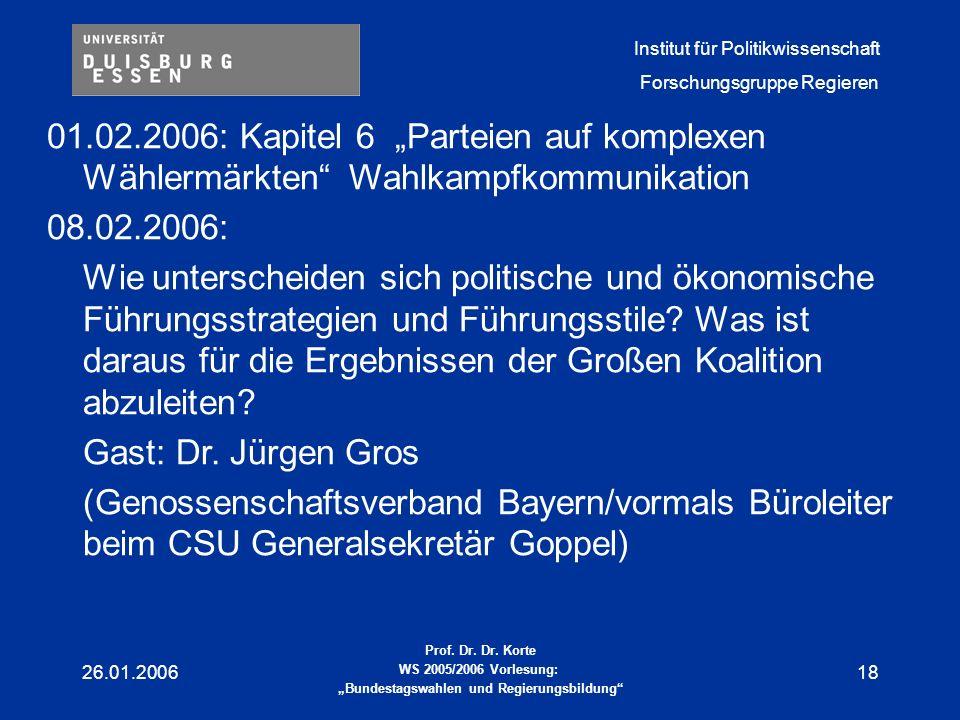"""01.02.2006: Kapitel 6 """"Parteien auf komplexen Wählermärkten Wahlkampfkommunikation"""