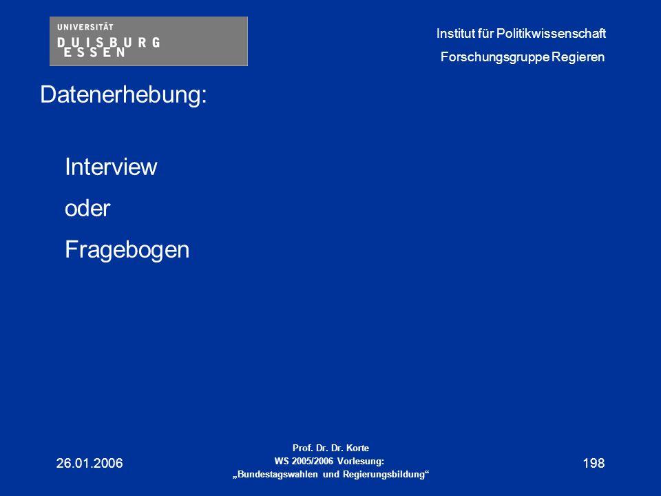 Datenerhebung: Interview oder Fragebogen 26.01.2006