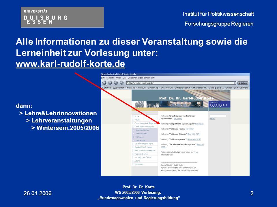 Alle Informationen zu dieser Veranstaltung sowie die Lerneinheit zur Vorlesung unter: www.karl-rudolf-korte.de dann: > Lehre&Lehrinnovationen > Lehrveranstaltungen > Wintersem.2005/2006