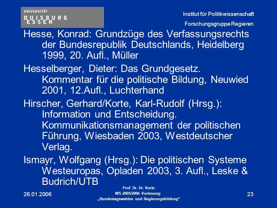 Hesse, Konrad: Grundzüge des Verfassungsrechts der Bundesrepublik Deutschlands, Heidelberg 1999, 20. Aufl., Müller