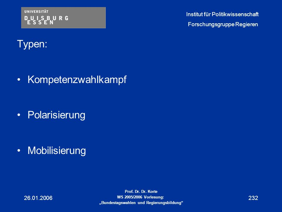 Typen: Kompetenzwahlkampf Polarisierung Mobilisierung 26.01.2006