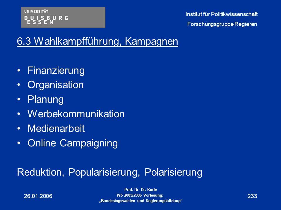 6.3 Wahlkampfführung, Kampagnen Finanzierung Organisation Planung