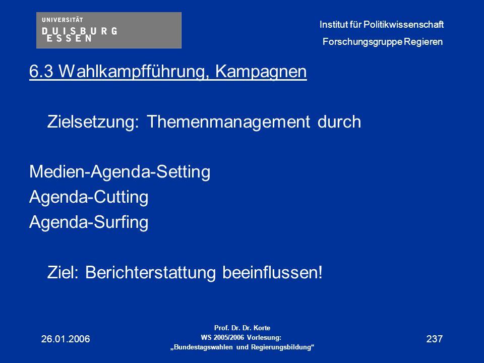 6.3 Wahlkampfführung, Kampagnen Zielsetzung: Themenmanagement durch