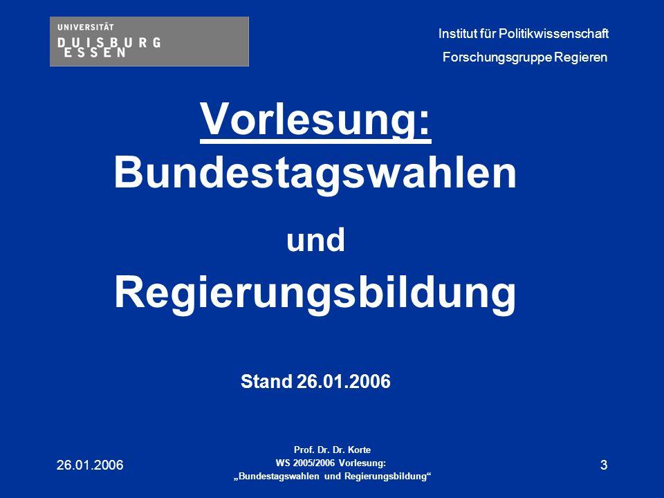 Vorlesung: Bundestagswahlen und Regierungsbildung Stand 26.01.2006