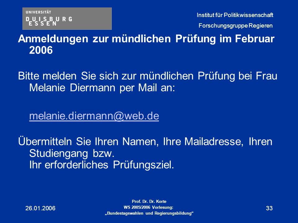 Anmeldungen zur mündlichen Prüfung im Februar 2006
