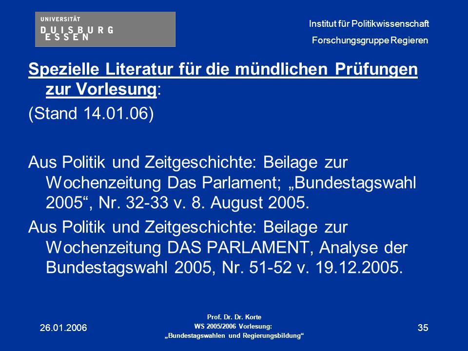 Spezielle Literatur für die mündlichen Prüfungen zur Vorlesung:
