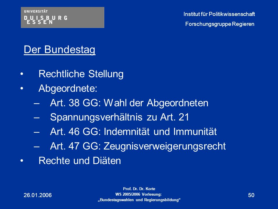 Der Bundestag Rechtliche Stellung Abgeordnete: