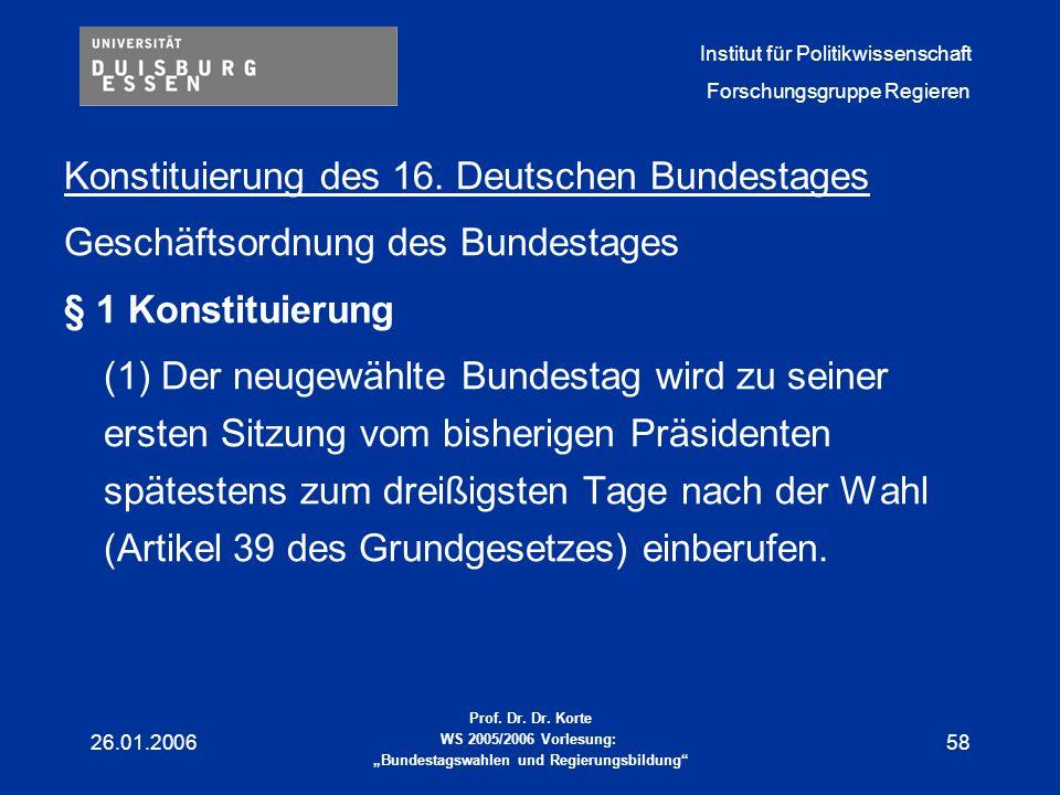 Konstituierung des 16. Deutschen Bundestages