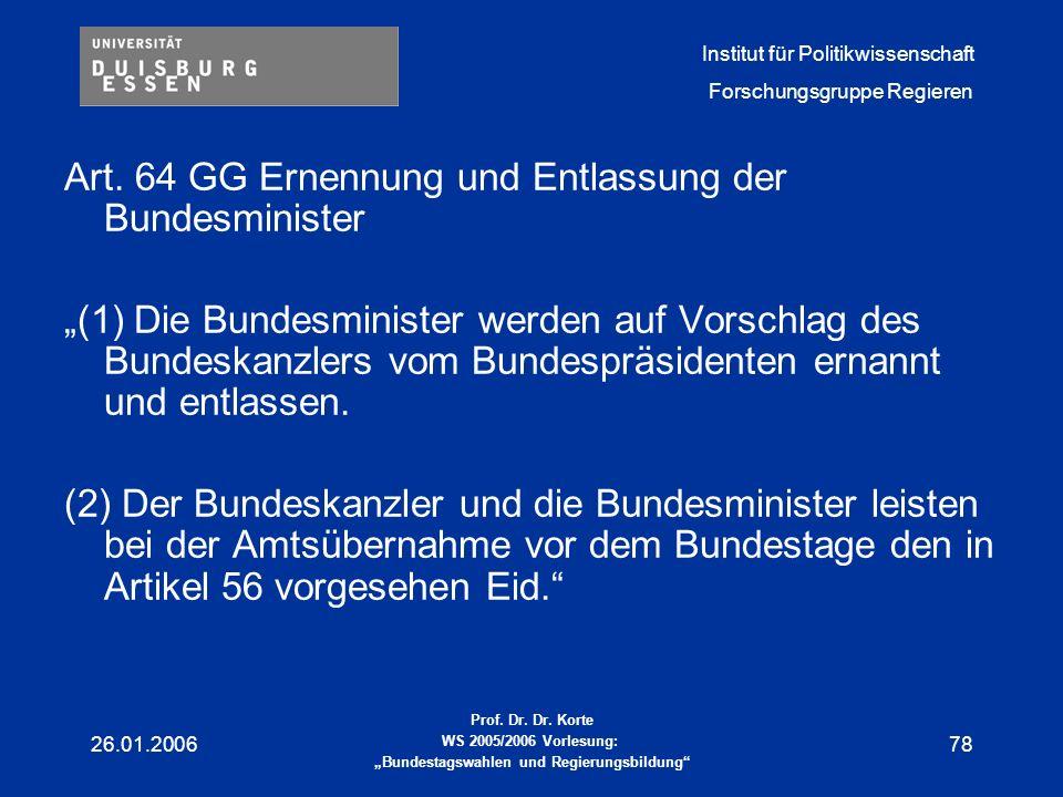 Art. 64 GG Ernennung und Entlassung der Bundesminister