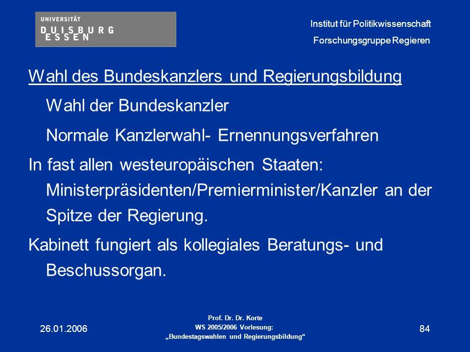 Wahl des Bundeskanzlers und Regierungsbildung Wahl der Bundeskanzler