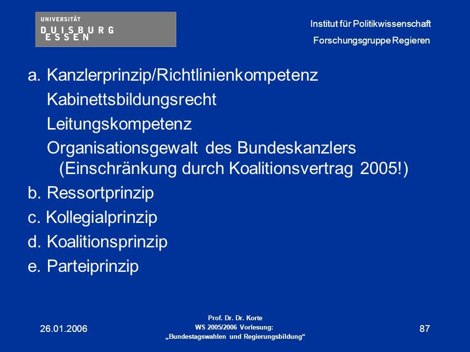 a. Kanzlerprinzip/Richtlinienkompetenz Kabinettsbildungsrecht