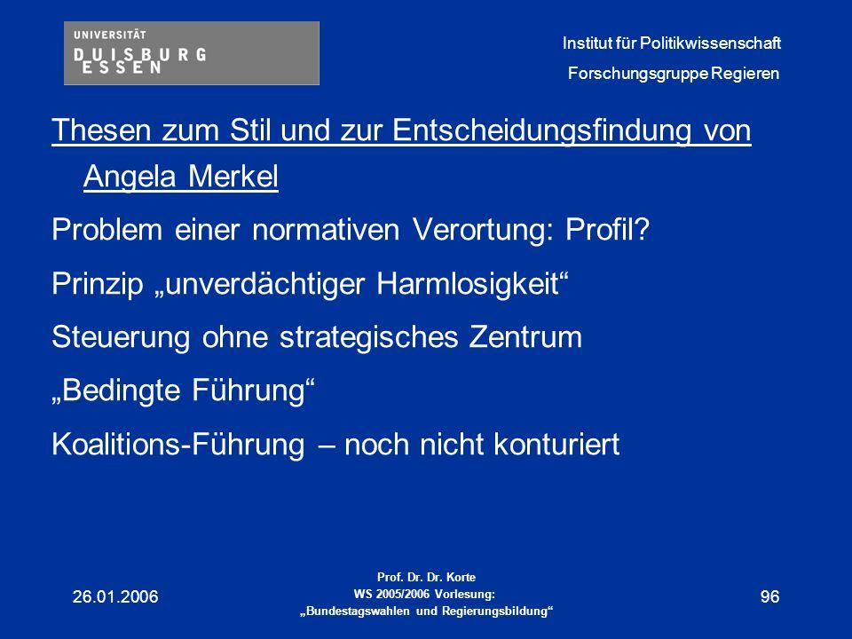 Thesen zum Stil und zur Entscheidungsfindung von Angela Merkel