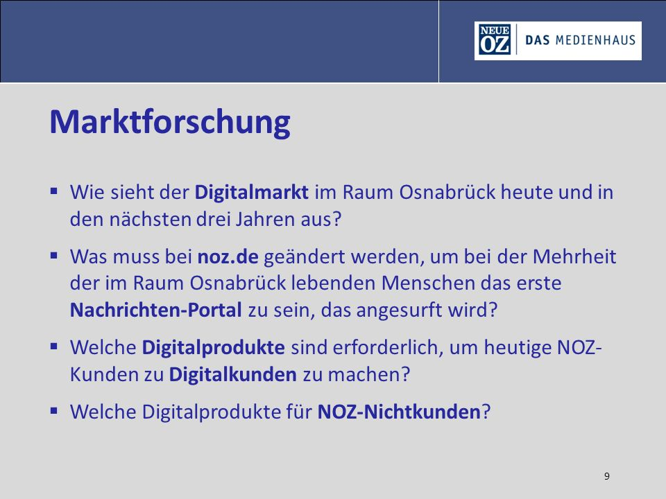 Marktforschung Wie sieht der Digitalmarkt im Raum Osnabrück heute und in den nächsten drei Jahren aus