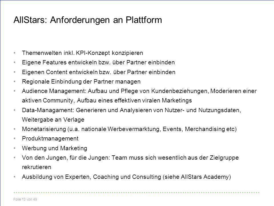 AllStars: Anforderungen an Plattform