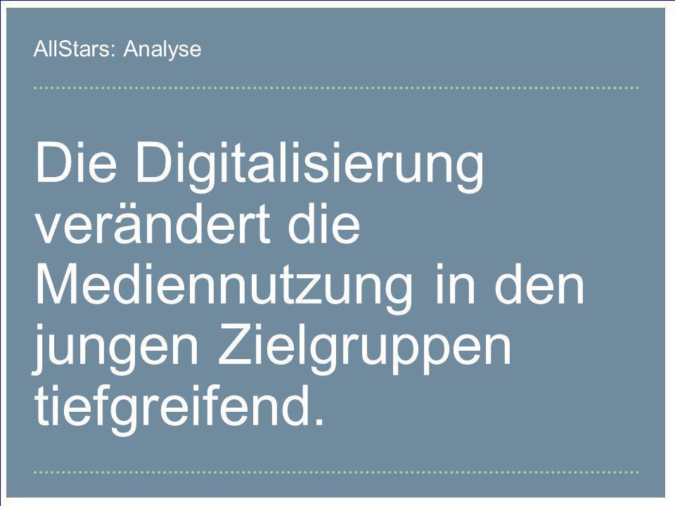 AllStars: AnalyseDie Digitalisierung verändert die Mediennutzung in den jungen Zielgruppen tiefgreifend.