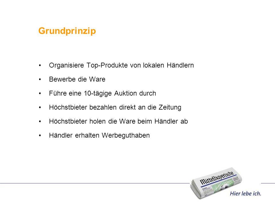 Grundprinzip Organisiere Top-Produkte von lokalen Händlern