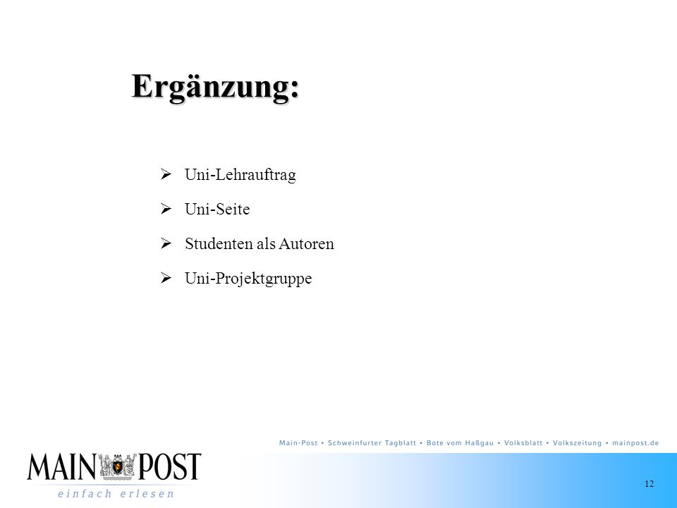 Ergänzung: Uni-Lehrauftrag Uni-Seite Studenten als Autoren