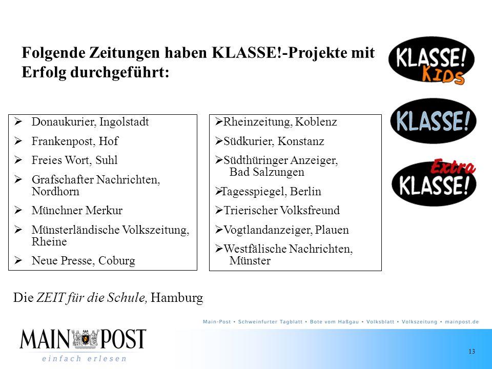 Folgende Zeitungen haben KLASSE!-Projekte mit Erfolg durchgeführt: