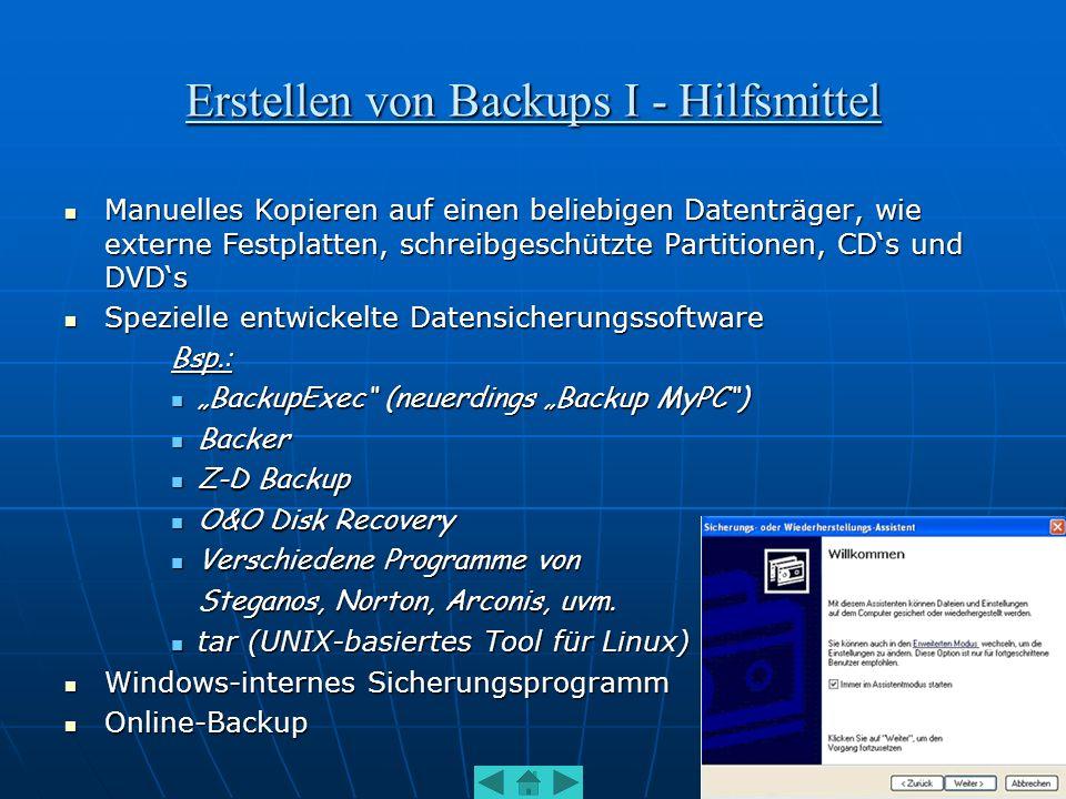 Erstellen von Backups I - Hilfsmittel