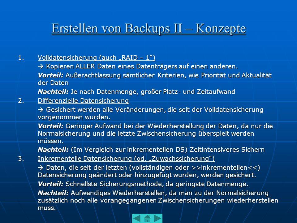 Erstellen von Backups II – Konzepte
