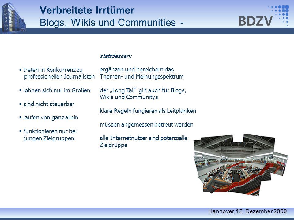 Verbreitete Irrtümer Blogs, Wikis und Communities -