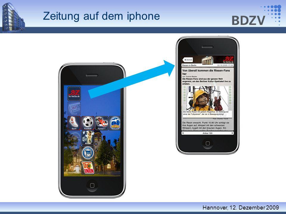 Zeitung auf dem iphone Hannover, 12. Dezember 2009 Applikationen